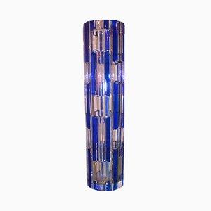 Vase Vintage en Verre avec Détails Bleus