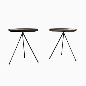 Vintage French Tripod Tables with Organic Shaped Top, Set of 2