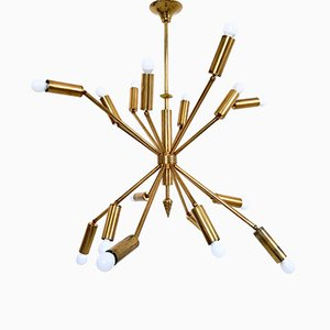 Italian Brass Chandelier with Sixteen Adjustable Arms, 1950s