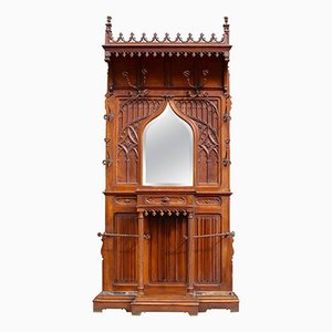 Gothic Revival Carved Walnut Hall Stand, 1890s