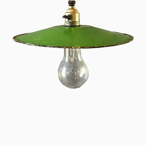 Vintage French Enameled Atelier Ceiling Lamp