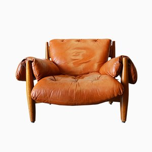 Original Sheriff Lounge Chair in Cognac Leather by Sergio Rodrigues for ISA Bergamo, 1962