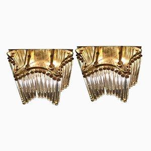 Vergoldete Mid-Century Wandlampen von Palme Kronleuchters, 2er Set
