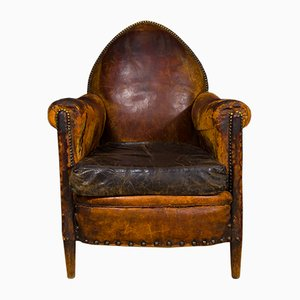 Antique Leather & Brass Studded Club Chair