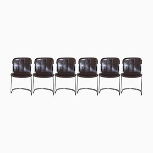 Vintage Chrome & Leather Chairs by Willy Rizzo for Cidue, Set of 6
