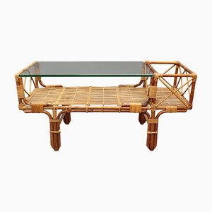 Bamboo & Rattan Coffee Table with Glass Top, 1960s