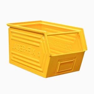 Gelbe Vintage Fabrik Box von Schafer
