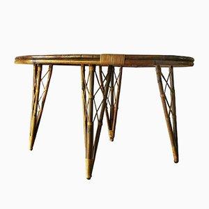 Mesa de jardín Mid-Century de bambú con tablero en forma de hoja
