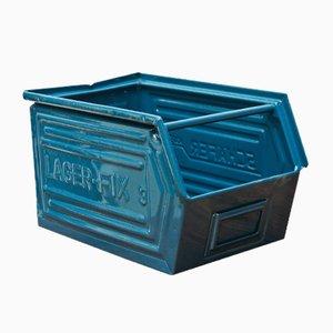Blaue Vintage Fabrik Box von Schafer