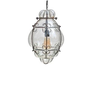 Vintage Venetian Caged Clear Murano Glass Lantern