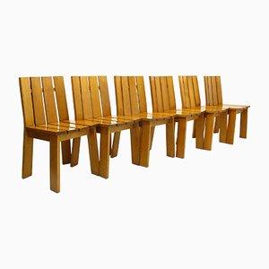 Sedie in quercia, anni '70, set di 6