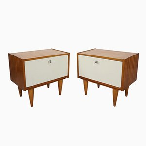 Teak Nightstands with White Fronts, 1950s, Set of 2