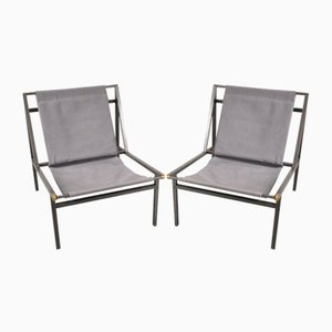 Metal Sling Chairs, 1950s, Set of 2
