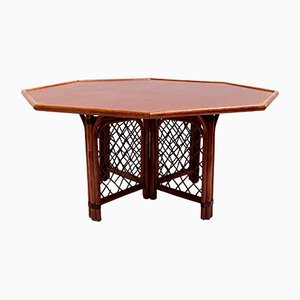 Octagonal Wood & Rattan Dining Table, 1960s