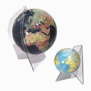 Globos terráqueos acrílicos de Scan-Globe & Räth, años 70. Juego de 2