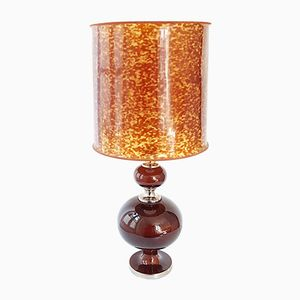 Vintage Ceramic, Chrome & Rhodoid Table Lamp, 1970s