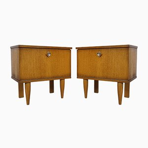 Oak Bedside Tables, 1950s, Set of 2
