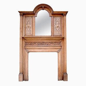 Antique Carved Oak Fire Surround with Bevelled Mirror, 1900s