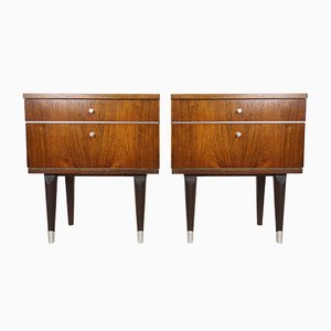 Rosewood & Metal Bedside Tables, 1950s, Set of 2