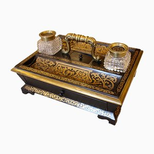 Mid-19th Century Ebony and Boulle Inkwell Desk Stand