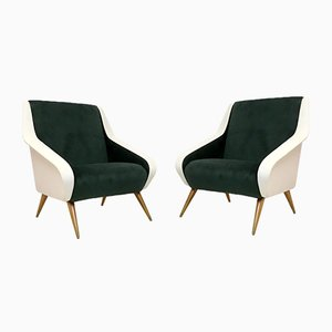 Italian Green and White Velvet Armchairs, 1950s, Set of 2