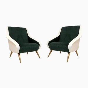 Italian Green and White Velvet Armchairs, 1950s, Set of 2