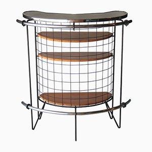 Mueble bar francés con estructura de metal, años 70