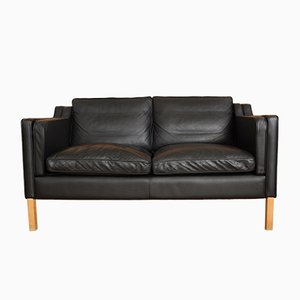 Black Two-Seater Leather Sofa from Stouby, 1970s