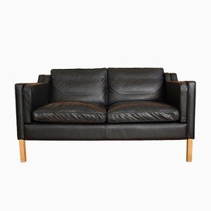Schwarzes 2-Sitzer Leder Sofa von Stouby, 1970er