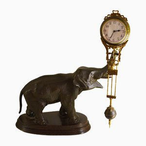 Vintage Sculptural Elephant Clock