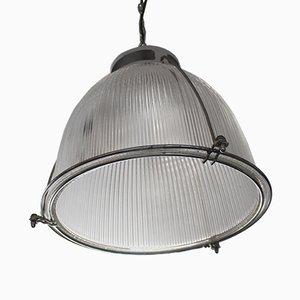 Lampada da soffitto vintage industriale in vetro e metallo di Holophane