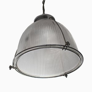 Vintage Industrial Glass & Metal Ceiling Light from Holophane