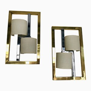 Italian Brass & Chrome Sconces by Banci Firenze, 1980s, Set of 2