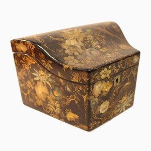 Bemalte und vergoldete Viktorianische Schreibwaren Box aus Papier-Maché