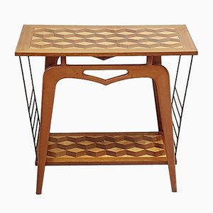Mid-Century French Marquetry & Steel Console Table and Magazine Rack, 1950s