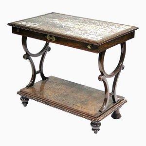 Consolle Regency intarsiata in mogano e ottone con ripiano in marmo Breccia