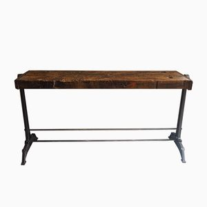 Oak Workbench with Cast Iron Foot, 1950s