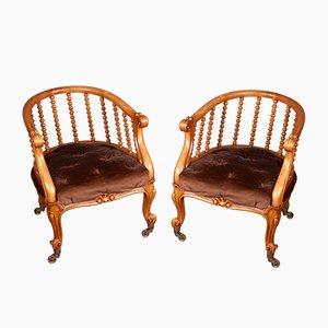 Chaises Victoriennes en Bois de Satin de J Kerr & Co, Set de 2