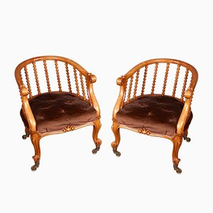 Victorian Satinwood Tub Chairs from J Kerr & Co, Set of 2