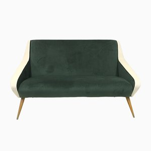 Italian Green and White Velvet Sofa, 1950s