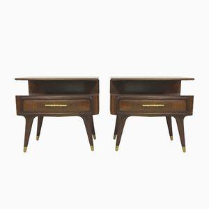 Vintage Italian Rosewood Bedside Tables, Set of 2