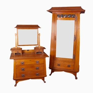 Arts & Crafts Oak Wardrobe & Dressing Table from Maple & Co, 1890s