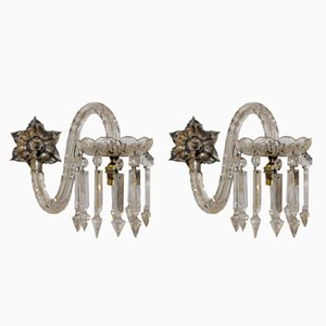 Antique Crystal Sconces, Set of 2