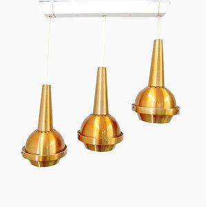 Triple Cascading Pendant Lamp from VEB Metalldrücker, 1960s