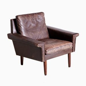 Vintage Danish Leather Easy Chair, 1970s