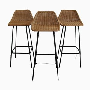 Rattan Bar Stools by Dirk van Sliedregt for Rohé Noordwolde, 1960s, Set of 3