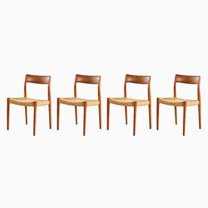 Modell 77 Stühle aus Teakholz von Niels Otto Møller für J.L. Møllers, 1960er, 4er Set