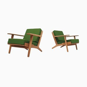 Mid-Century GE-290 Oak Framed Armchairs by Hans J. Wegner for Getama, Set of 2