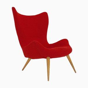 Sillón Mid-Century Modern en rojo, años 50