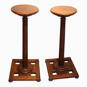 Edwardian Mahogany Torchiere Display Stands, Set of 2